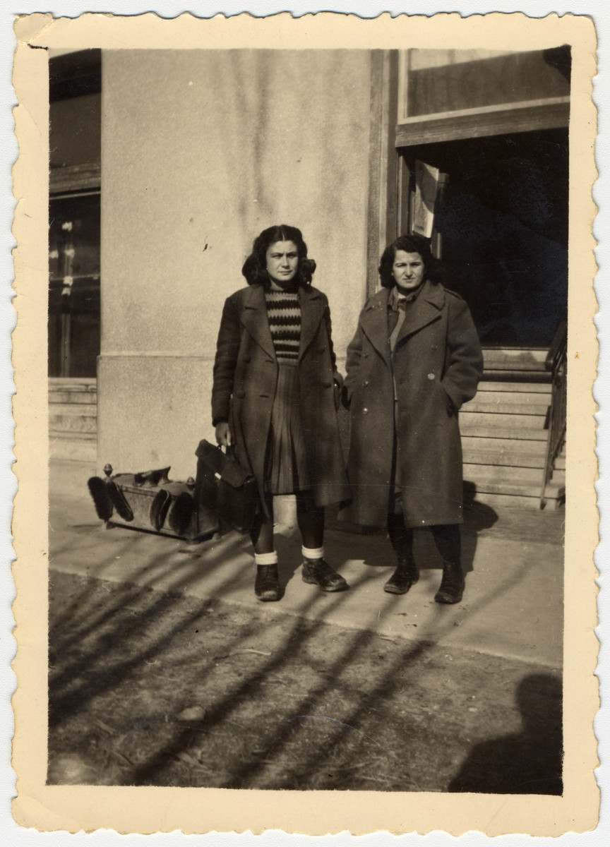 Two Jewish Macedonian partisans immediately after the war.  Pictured (left to right) are Nada Antevska and Jamila Kolonomos.  They were responsible for the demobilized young men and women at the end of the war.