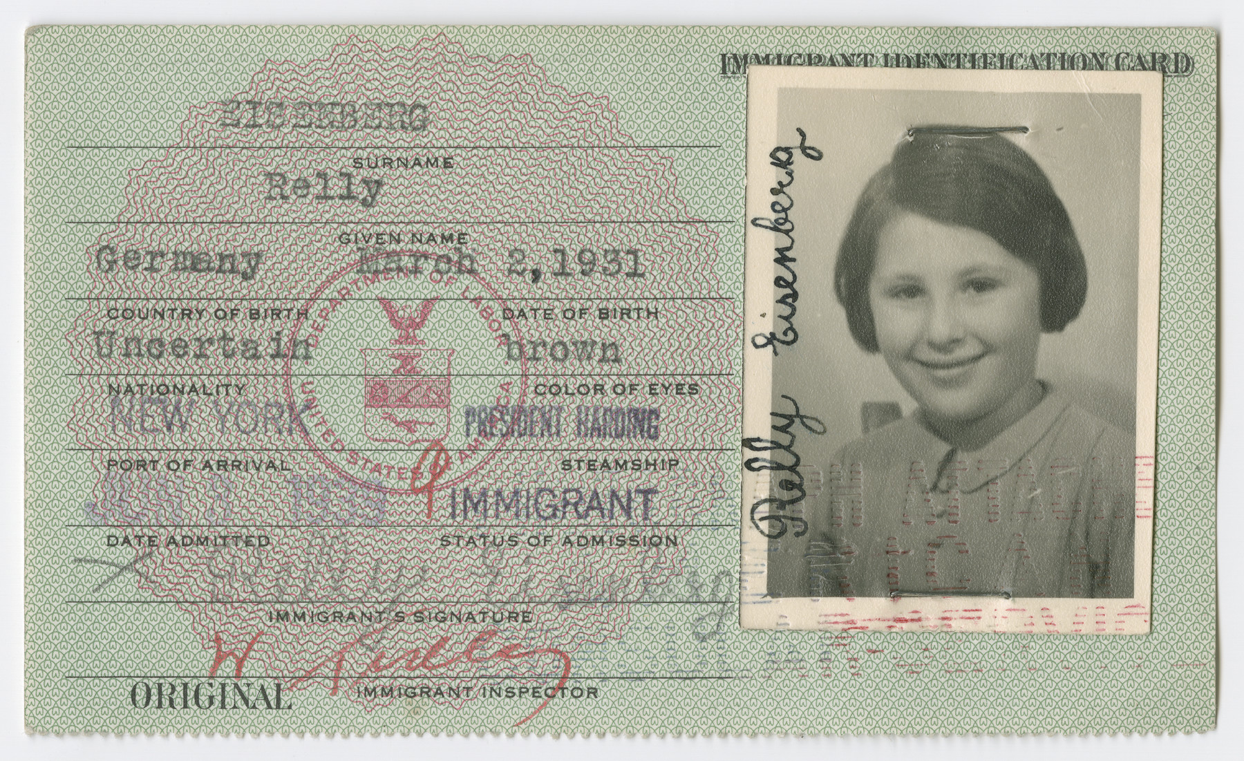 United States Immigrant Identification Card issued to Relly Eisenberg.  It states she was born in Germany though she was born in Vienna.