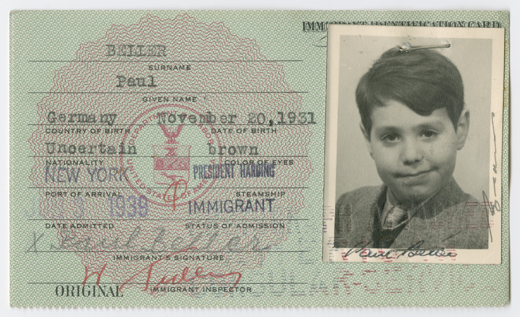 United States Immigrant Identification Card issued to Paul Beller.  It states he was born in Germany though he was born in Vienna.