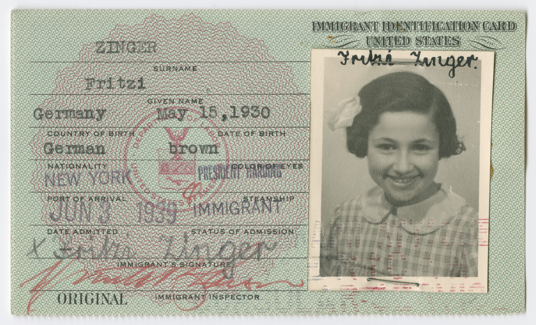 United States Immigrant Identification Card issued to Fritzi Zinger.  It states she was born in Germany though she was born in Vienna.