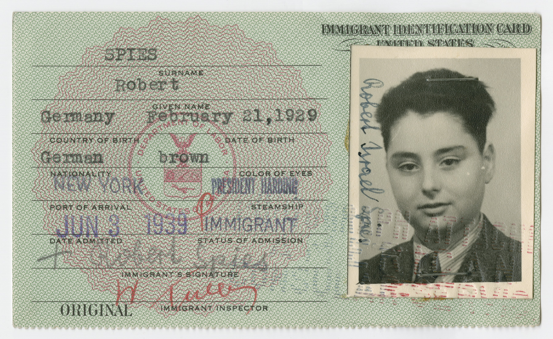 United States Immigrant Identification Card issued to Robert Spies.  It states he was born in Germany though he was born in Vienna.