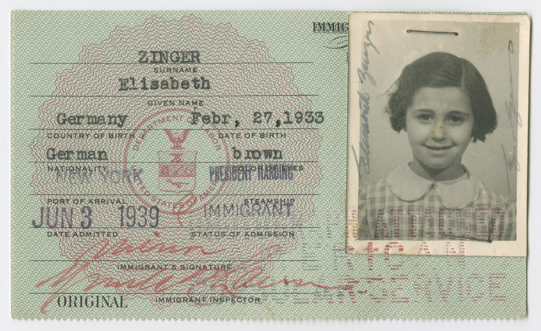 United States Immigrant Identification Card issued to Elisabeth Zinger  It states she was born in Germany though she probably was born in Vienna.