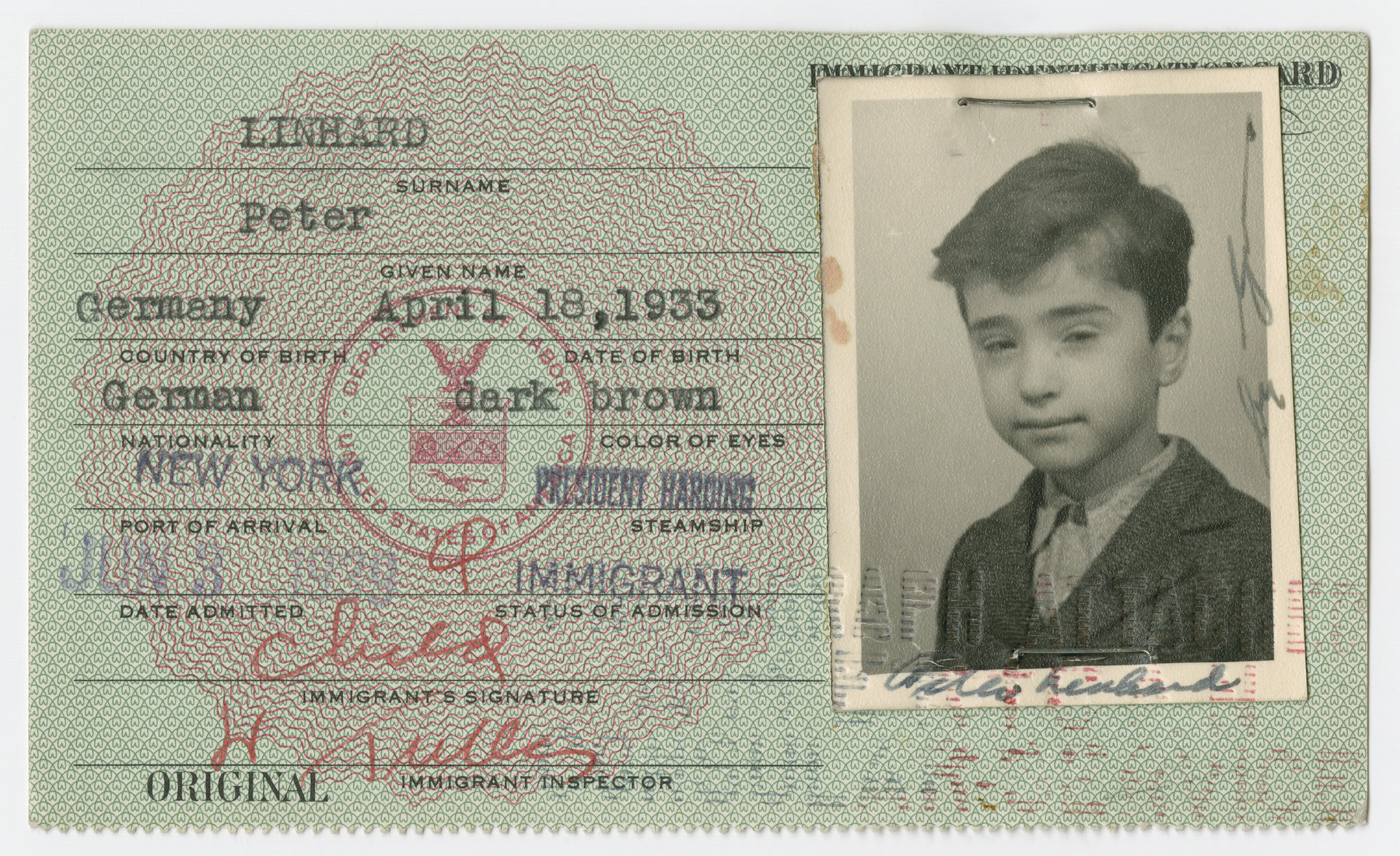 United States Immigrant Identification Card issued to Peter Linhard  It states he was born in Germany though he was born in Vienna.