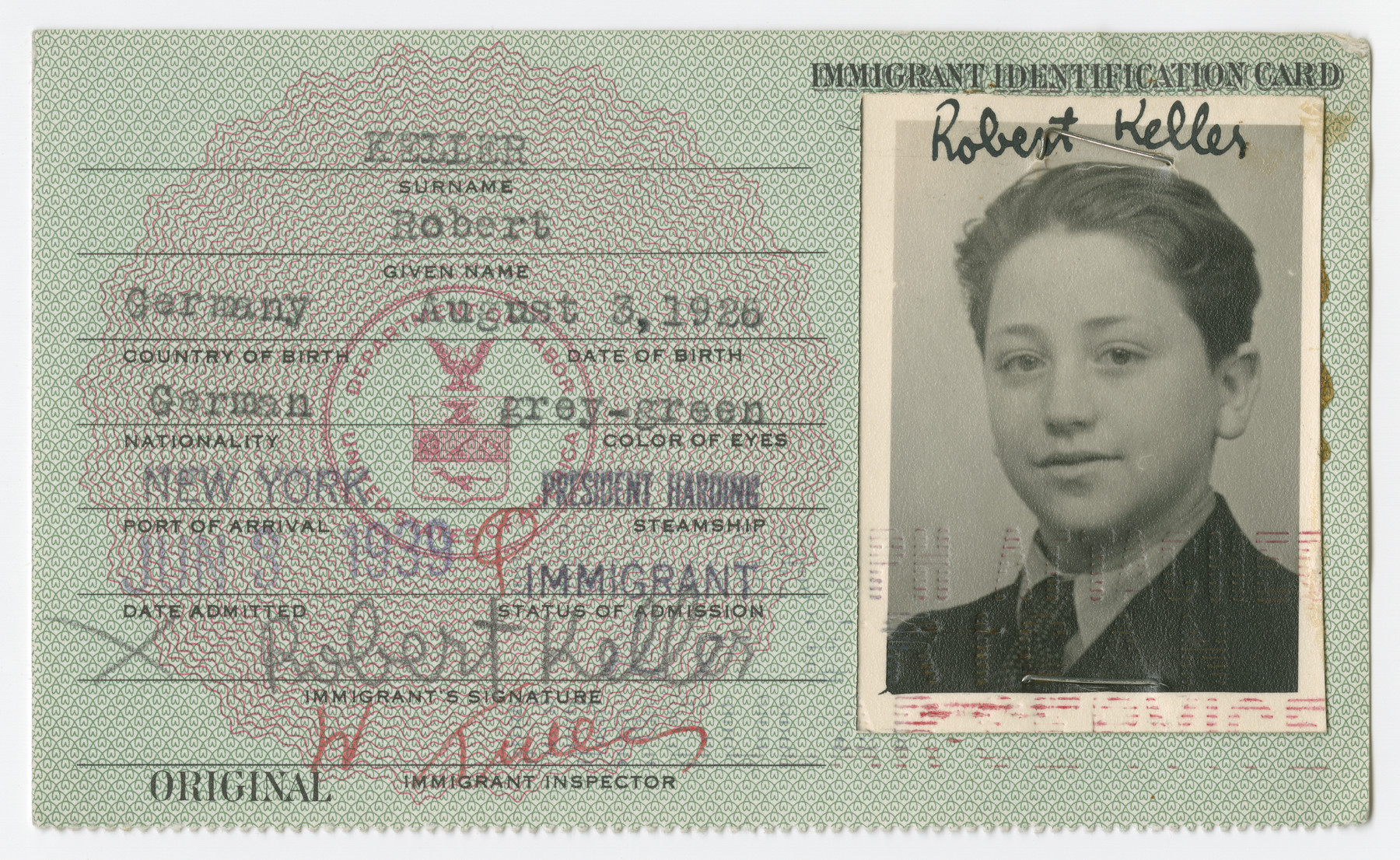 United States Immigrant Identification Card issued to Robert Keller.  It states he was born in Germany though he was born in Vienna.