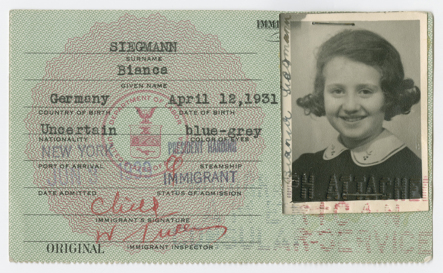 United States Immigrant Identification Card issued to Bianca Siegmann.  It states she was born in Germany though she was born in Vienna.