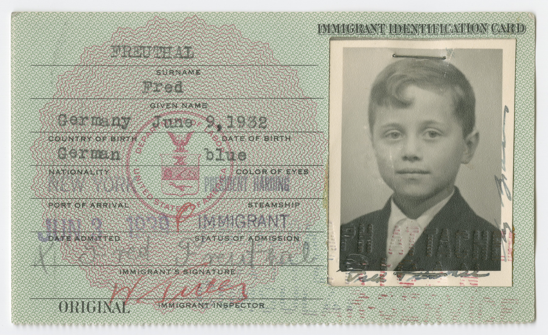 United States Immigrant Identification Card issued to Fred Freuthal  It states he was born in Germany though he probably was born in Vienna.