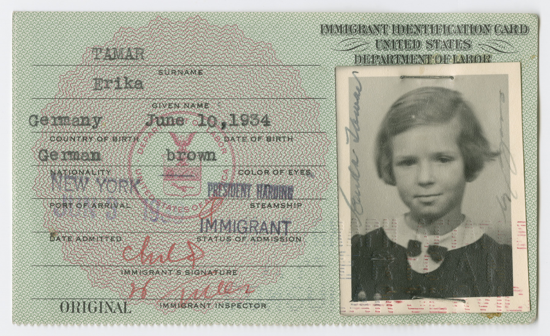 United States Immigrant Identification Card issued to Erika Tamar.  It states she was born in Germany though she was born in Vienna.