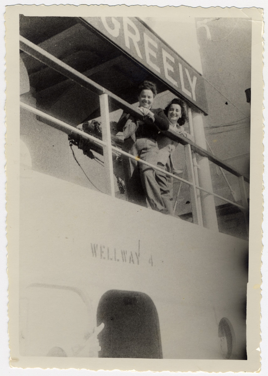 Fania and Henia Durmashkin look over the railing of the Greely while en route to the United States.