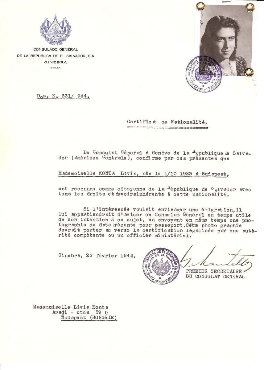Unauthorized Salvadoran citizenship certificate issued to Livia Konta (b. October 1, 1923 in Budapest) by George Mandel-Mantello, First Secretary of the Salvadoran Consulate in Switzerland and sent to her residence in Budapest.
