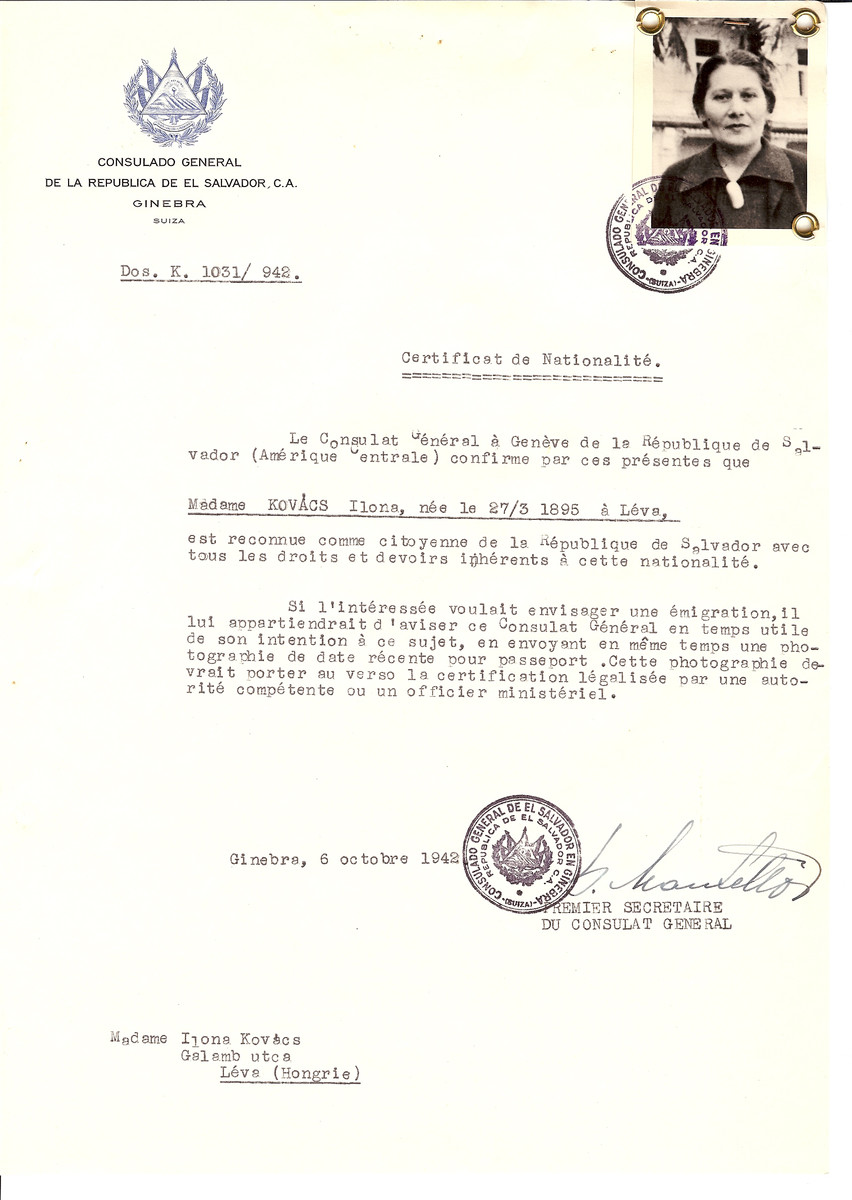 Unauthorized Salvadoran citizenship certificate issued to Ilona Kovacs (b. March 27, 1895 in Levice) by George Mandel-Mantello, First Secretary of the Salvadoran Consulate in Switzerland and sent to her residence in Levice.