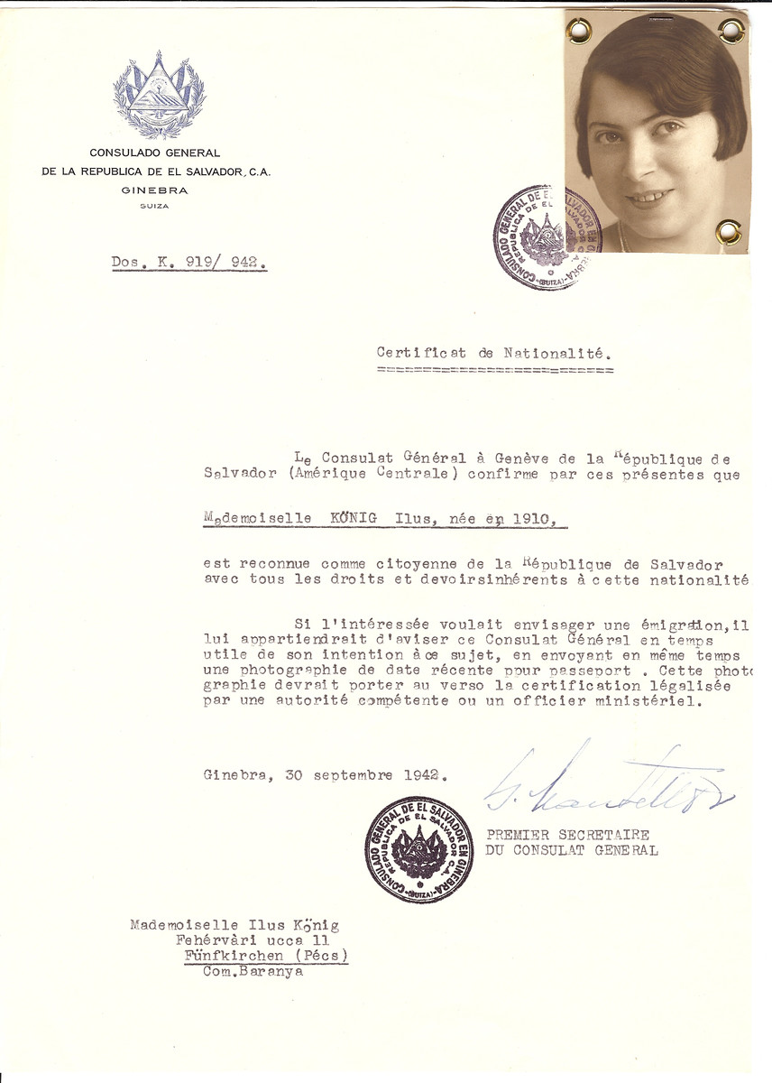 Unauthorized Salvadoran citizenship certificate issued to Ilus Koenig (b. 1910) by George Mandel-Mantello, First Secretary of the Salvadoran Consulate in Switzerland and sent to her residence in Pecs.