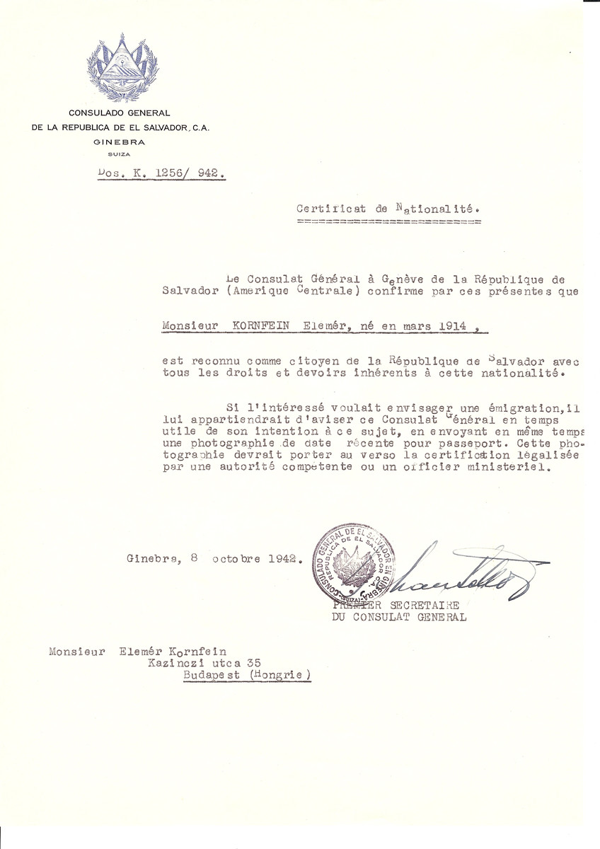 Unauthorized Salvadoran citizenship certificate issued to Elemer Kornfein (b. March 1914) by George Mandel-Mantello, First Secretary of the Salvadoran Consulate in Switzerland and sent to his residence in Budapest.