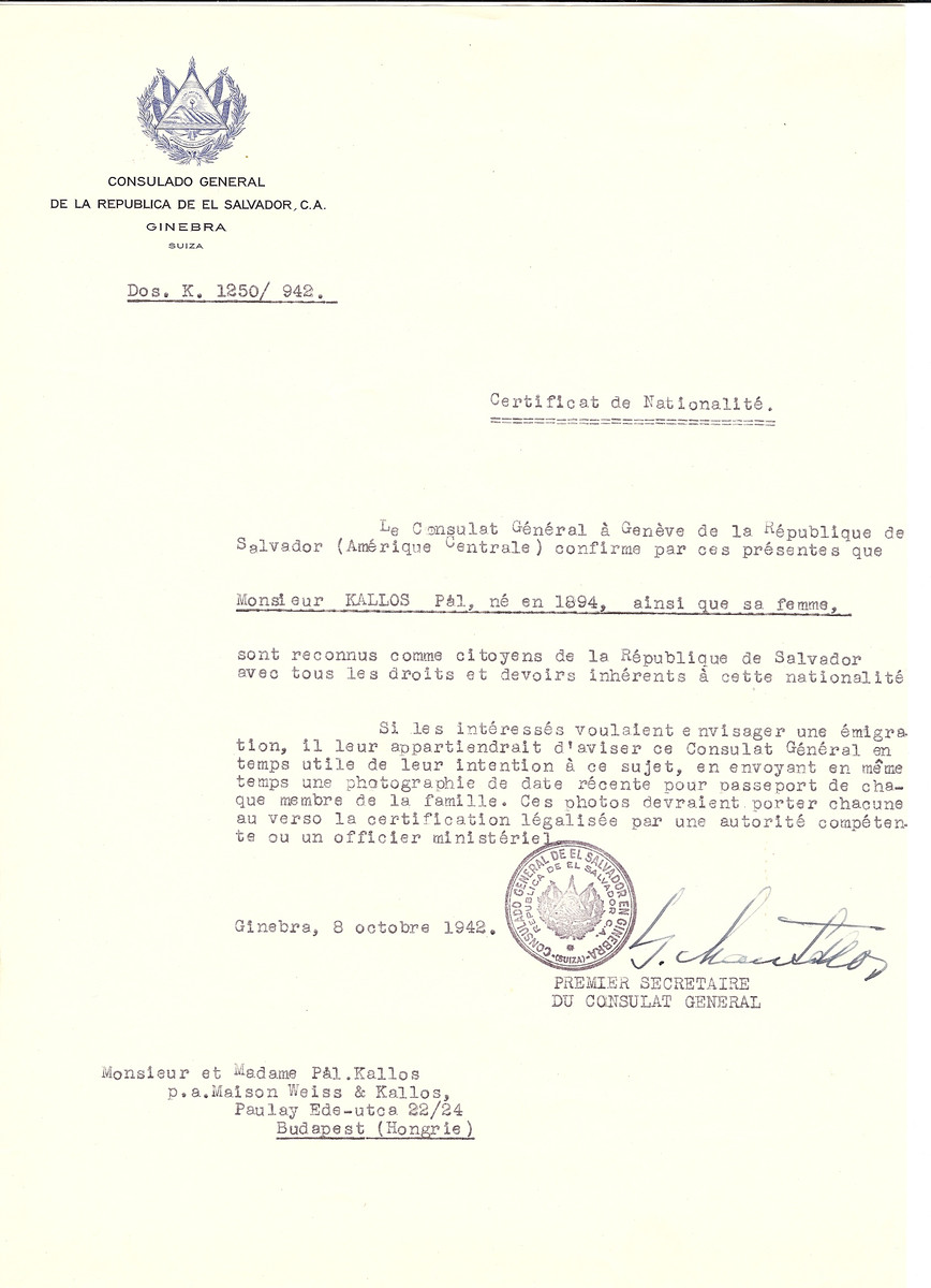 Unauthorized Salvadoran citizenship certificate issued to Pal Kallos (b. 1894) by George Mandel-Mantello, First Secretary of the Salvadoran Consulate in Switzerland and sent to his residence in Budapest.