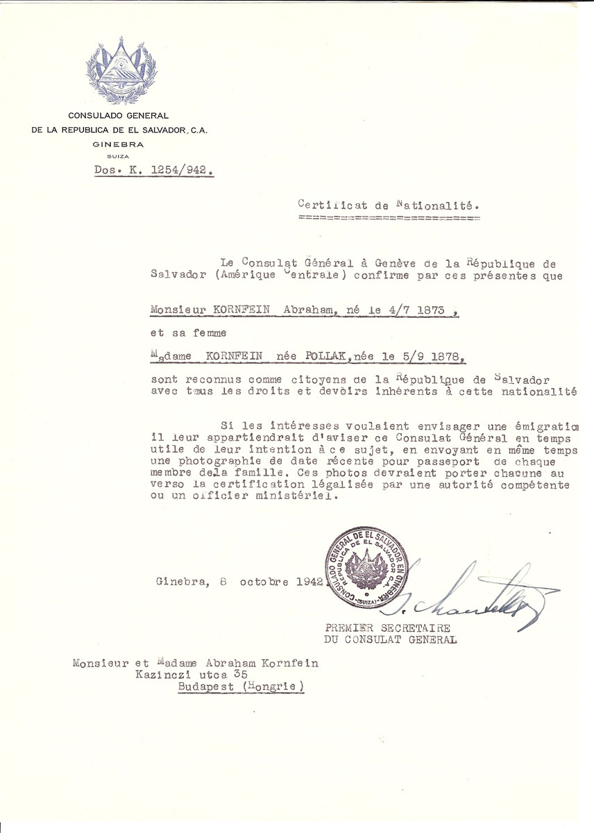 Unauthorized Salvadoran citizenship certificate issued to Abraham Kornfein (b. July 4, 1873) and his wife (nee Pollak b. September 5, 1878) by George Mandel-Mantello, First Secretary of the Salvadoran Consulate in Switzerland and sent to their residence in Budapest.