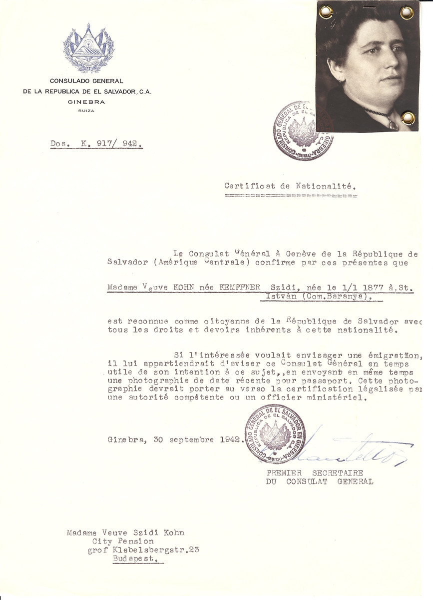 Unauthorized Salvadoran citizenship certificate issued to Szidi (nee Kempfner) Kohn (b. January 1, 1877 in St. Istvan) by George Mandel-Mantello, First Secretary of the Salvadoran Consulate in Switzerland and sent to her residence in Budapest.