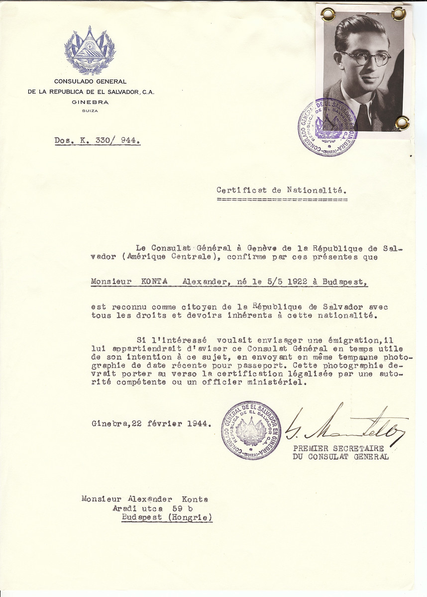 Unauthorized Salvadoran citizenship certificate issued to Alexander Konta (b. May 5, 1922 in Budapest) by George Mandel-Mantello, First Secretary of the Salvadoran Consulate in Switzerland and sent to his residence in Budapest.