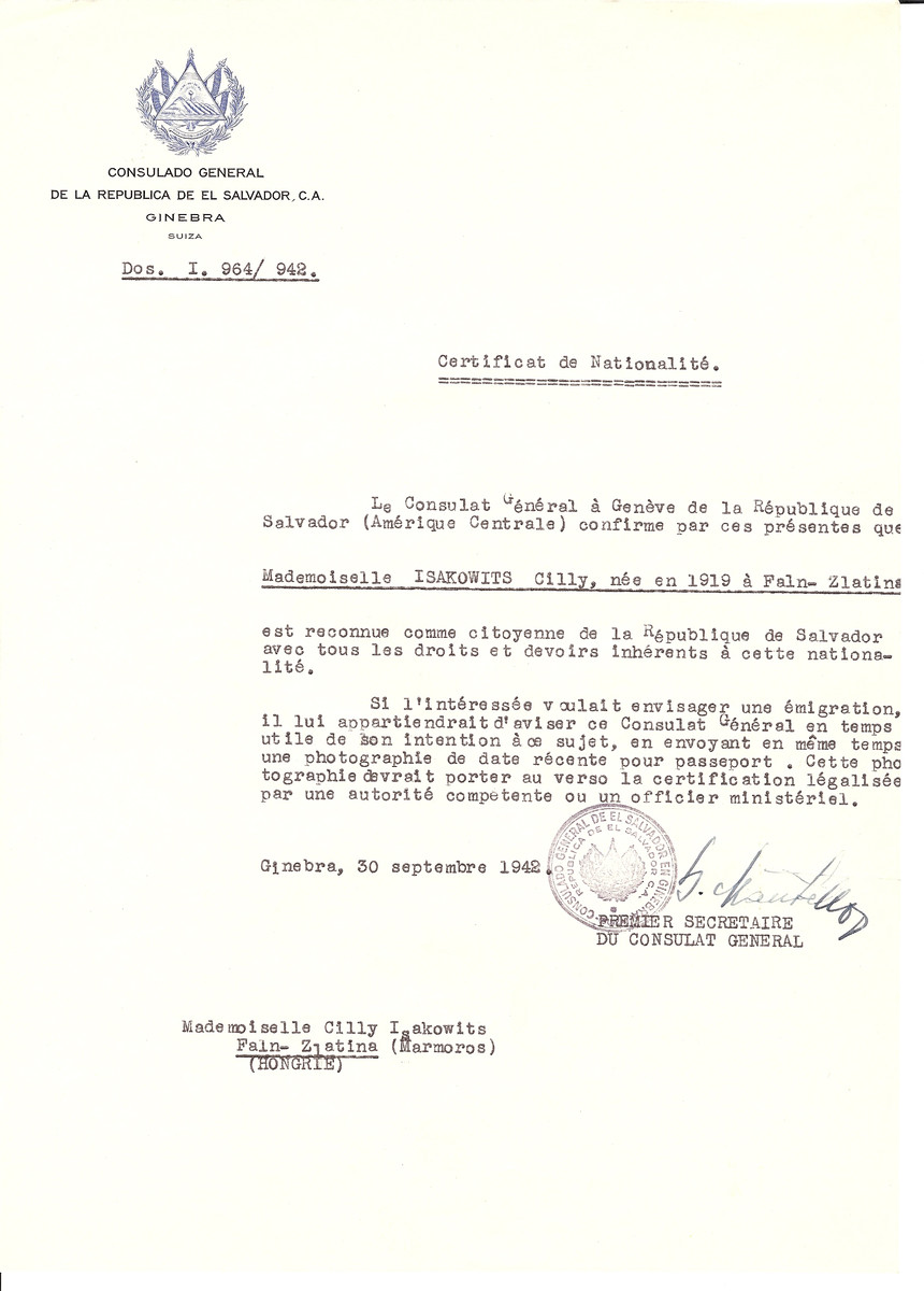 Unauthorized Salvadoran citizenship certificate issued to Cilly Isakowits (b. 1919 in Faln-Zlatina) by George Mandel-Mantello, First Secretary of the Salvadoran Consulate in Switzerland and sent to her residence in Faln-Zlatina.