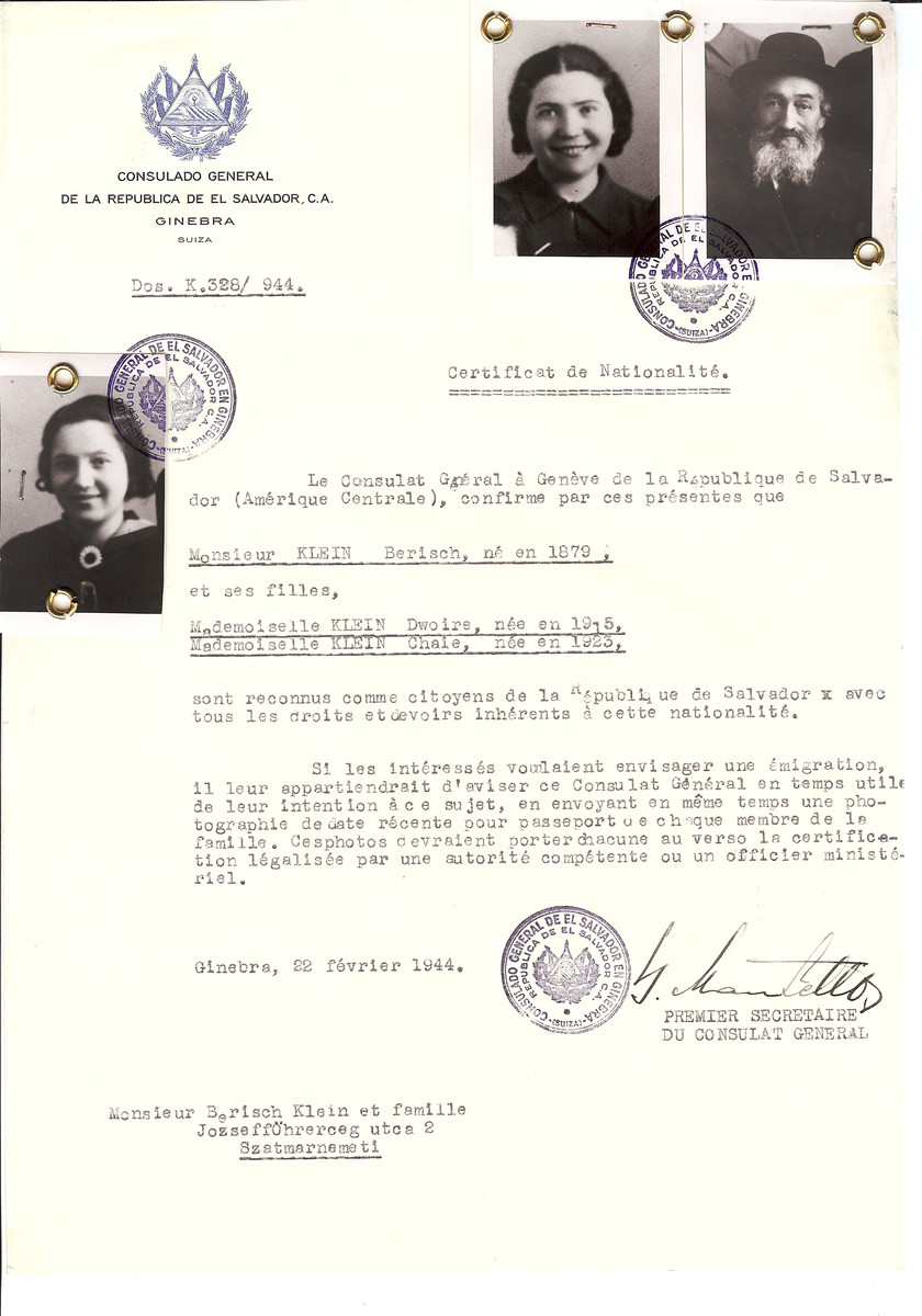 Unauthorized Salvadoran citizenship certificate issued to Berisch Klein (b. 1879) and his daughter Dwoire (b. 1915) and Chaie (b. 1923) by George Mandel-Mantello, First Secretary of the Salvadoran Consulate in Switzerland and sent to their residence in Satu Mare.