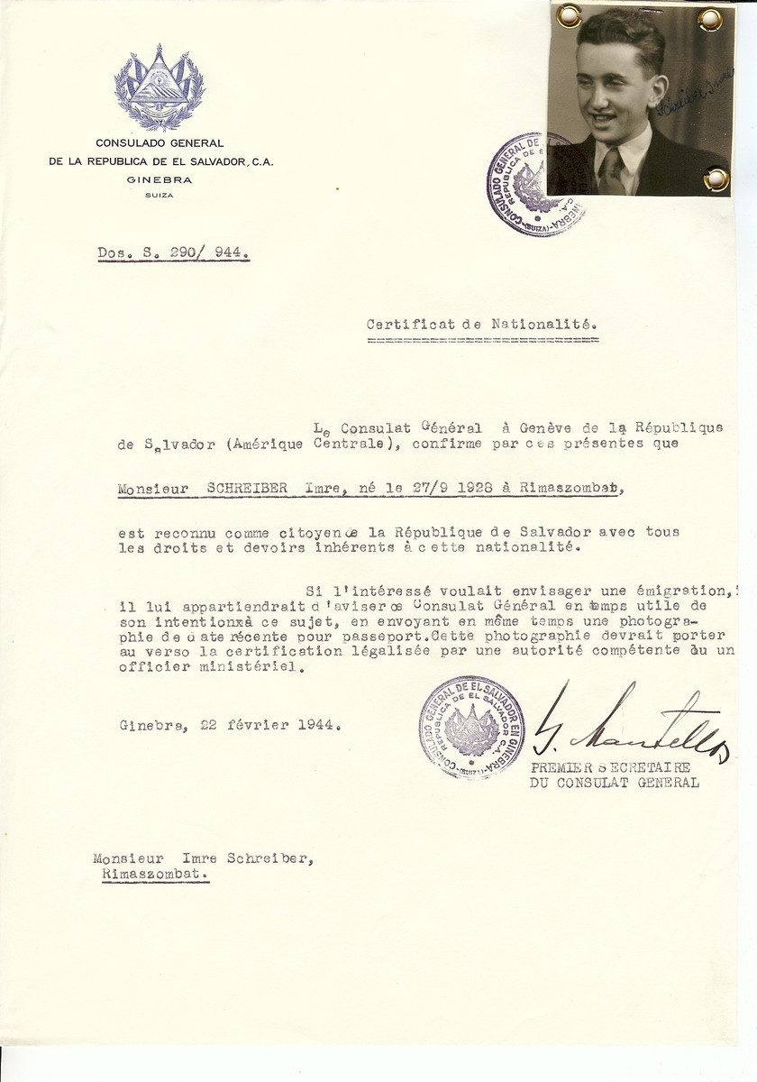 Unauthorized Salvadoran citizenship certificate issued to Imre Schreiber (b.September 27, 1928) by George Mandel-Mantello, First Secretary of the Salvadoran Consulate in Switzerland and sent to his residence in Rimaszombat.