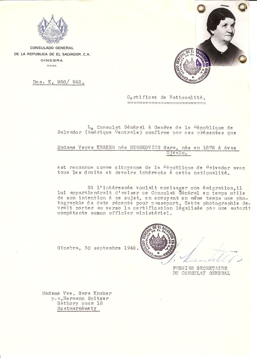 Unauthorized Salvadoran citizenship certificate issued to Sara (nee Herskovics) Knaker (b. 1872 in Avas Ujvalu) by George Mandel-Mantello, First Secretary of the Salvadoran Consulate in Switzerland and sent to her residence in Satu Mare.  Sara Knaker perished in Aushwitz on May 21, 1944.