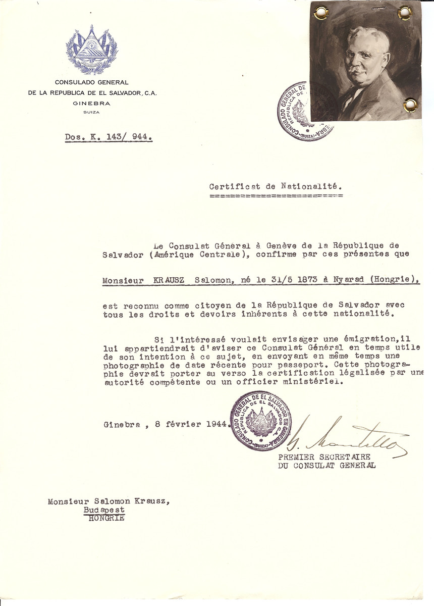 Unauthorized Salvadoran citizenship certificate issued to Salomon Krausz (b. May 31, 1875 in Nyarad) by George Mandel-Mantello, First Secretary of the Salvadoran Consulate in Switzerland and sent to his residence in Budapest.