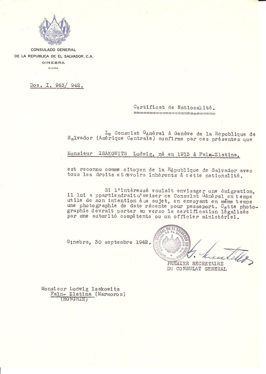 Unauthorized Salvadoran citizenship certificate issued to Ludwig Isakowits (b. 1913 in Faln-Zlatina)  by George Mandel-Mantello, First Secretary of the Salvadoran Consulate in Switzerland and sent to his residence in Faln-Zlatina.