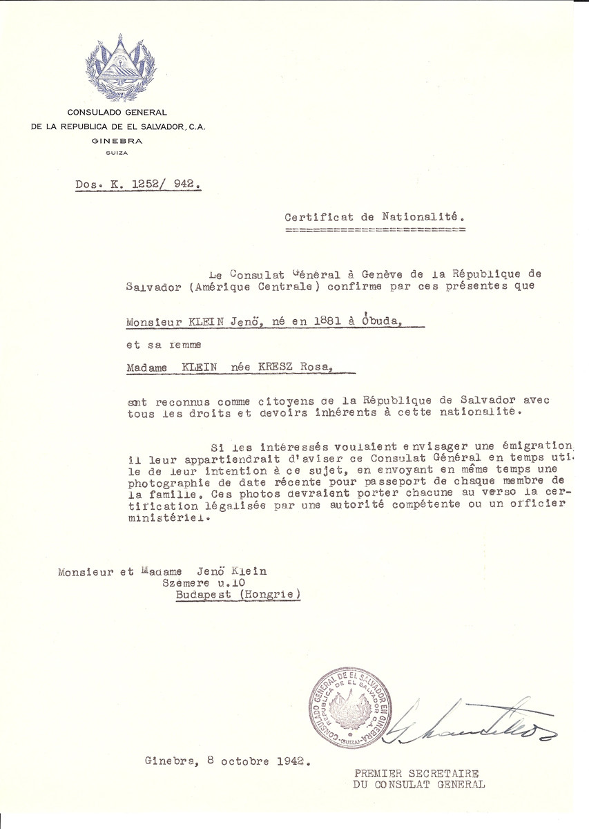 Unauthorized Salvadoran citizenship certificate issued to Jeno Klein (b. 1881 in Obuda) and his wife Rosa (nee Kresz) Klein by George Mandel-Mantello, First Secretary of the Salvadoran Consulate in Switzerland and sent to their residence in Budapest.