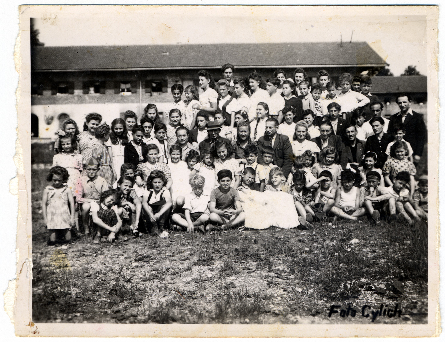 Group portrait of school children in the Feldafing displaced persons' camp.