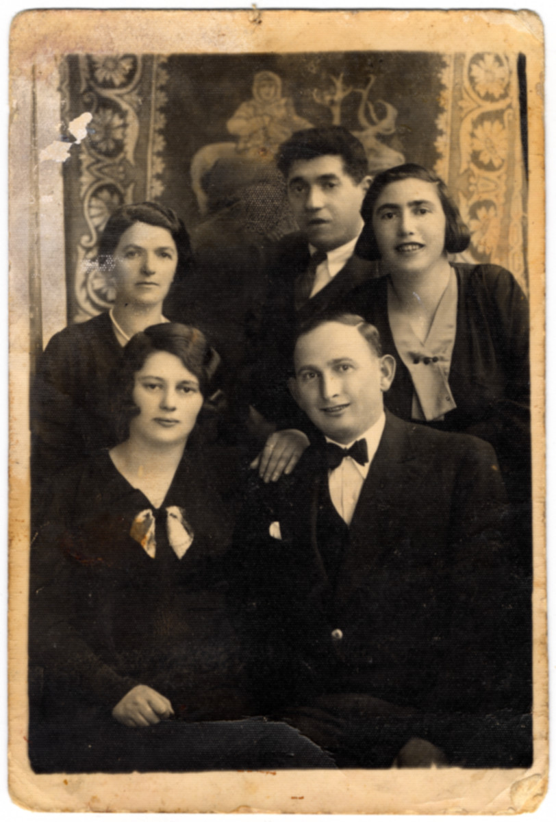 Engagement photo of Taube Shayndel Meerbaum and Avraham David Lifschitz (front).  Pictured in the back are Sprinze Mechlowitz, Mendel Mechlowitz and Esther (nee Lifschitz) Mechlowitz.