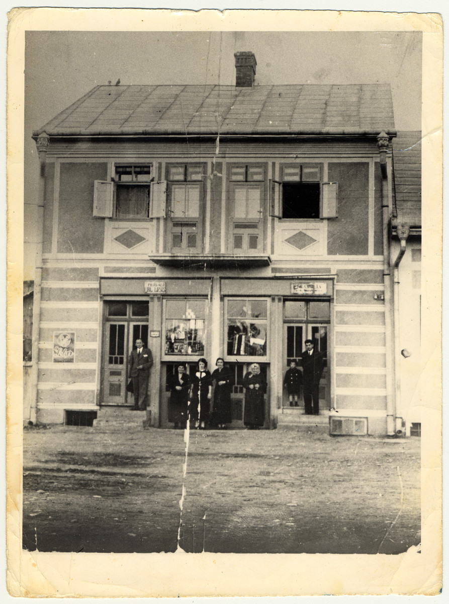 Exterior view of the store and home of the Lifschitz family.  They family sold textiles on the ground floor and lived on the top floor.