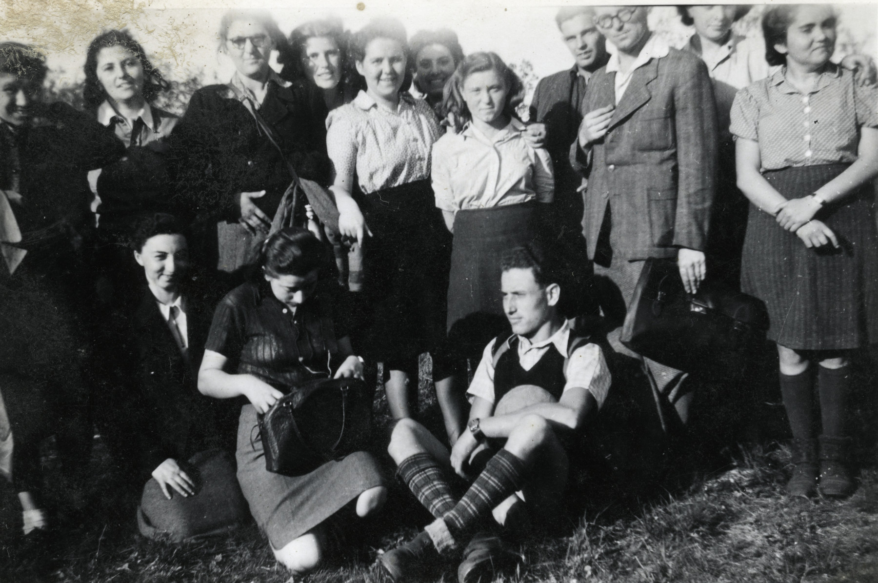 Zionist youth gather at a Shomer Hatzair summer camp in Budapest.  Esther Schaechter is fourth from the left in the back row.