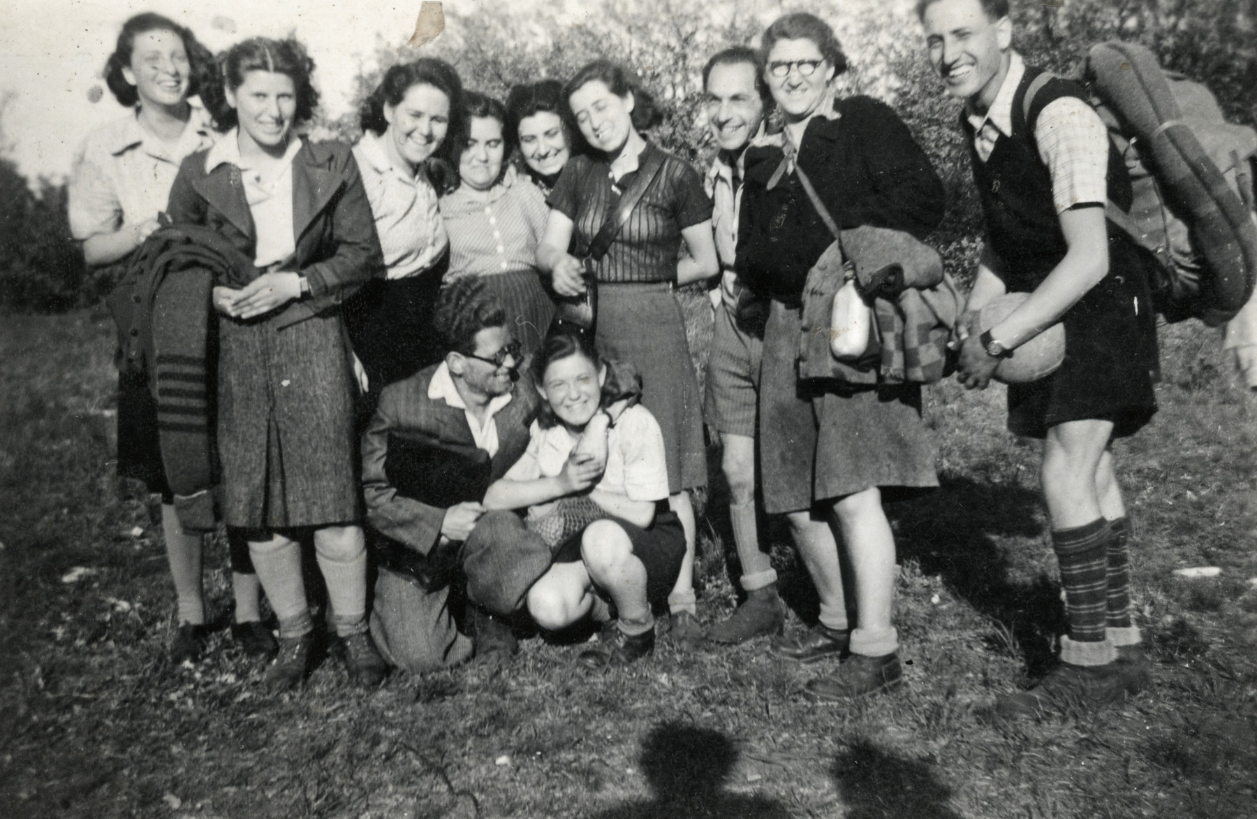 Zionist youth gather at a Shomer Hatzair summer camp in Budapest.  Esther Schaechter is second from the left.