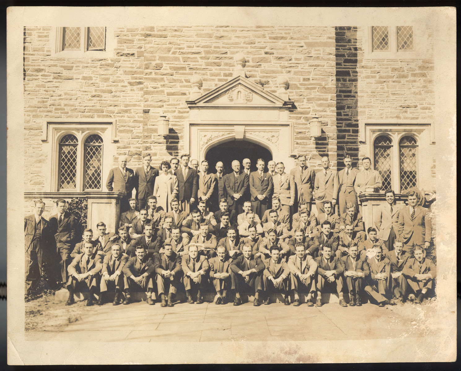 Group portrait of students and faculty at the Duke University School of Law.  Among those pictured are Raphael Lemkin (fifth row, sixth from the left wearing glasses) and the donor, Jack L. Bloom (third row, sixth from the left wearing a dotted tie).  Bloom was a first-year law student at the time; Lemkin was on the faculty.