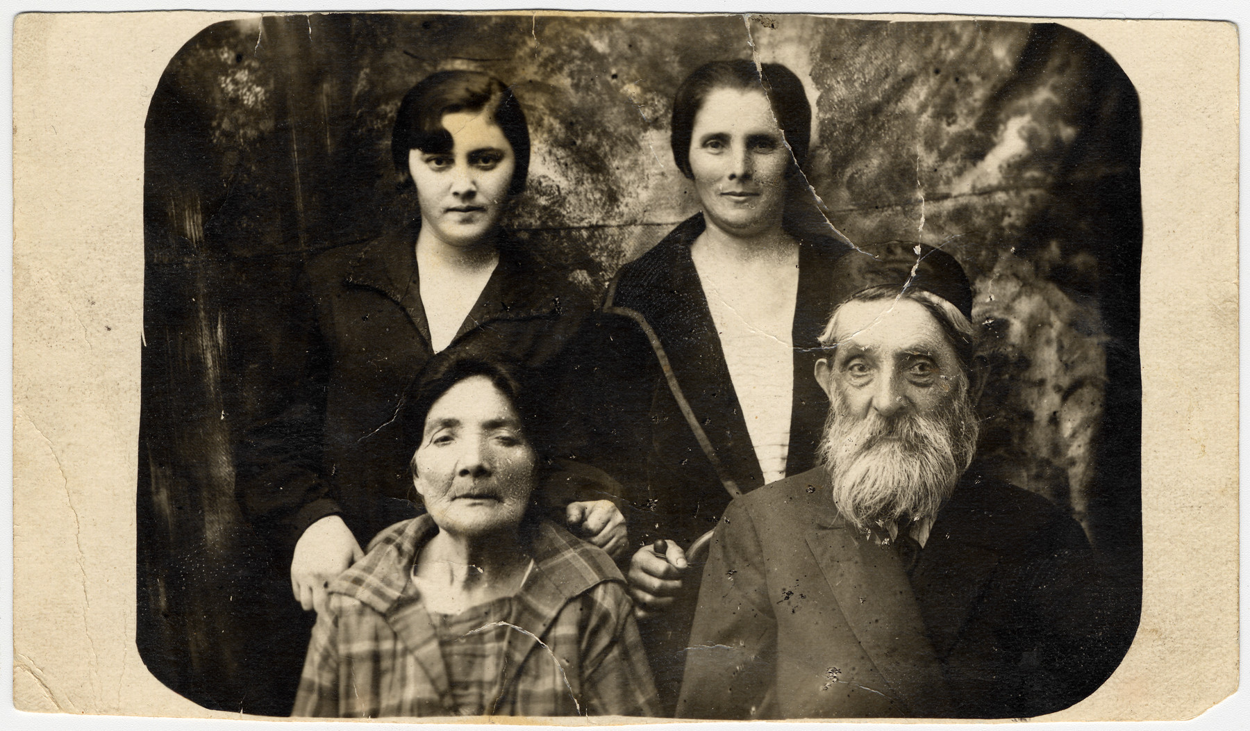 Studio portrait of three generations of the Nudelman Cycelman family.  Pictured are Slava Nudelman and third husband, Sonja Cygelman and Rachel Nudelman Cygelman.  Rachel is Slava's daughter and Sonja's mother.