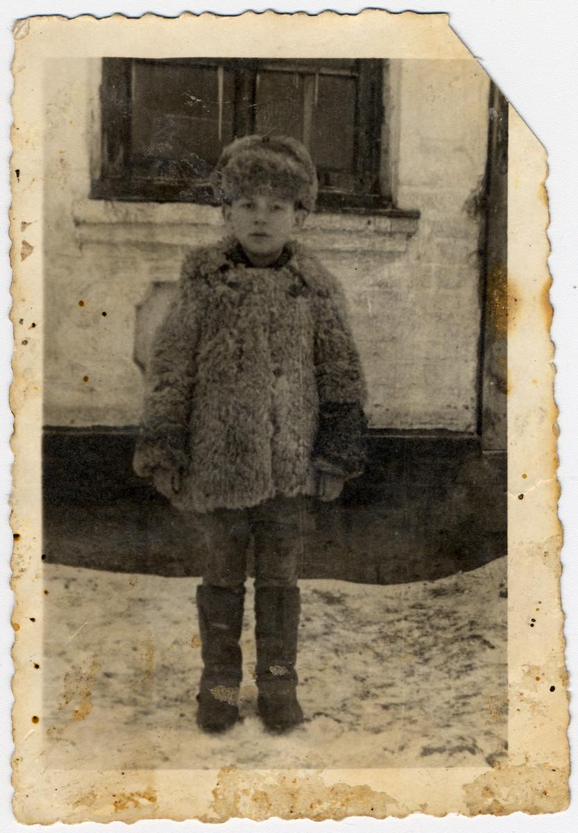 Close-up portrait of Reuven Bronshitein in the Zhmerynka ghetto in Transnistria.