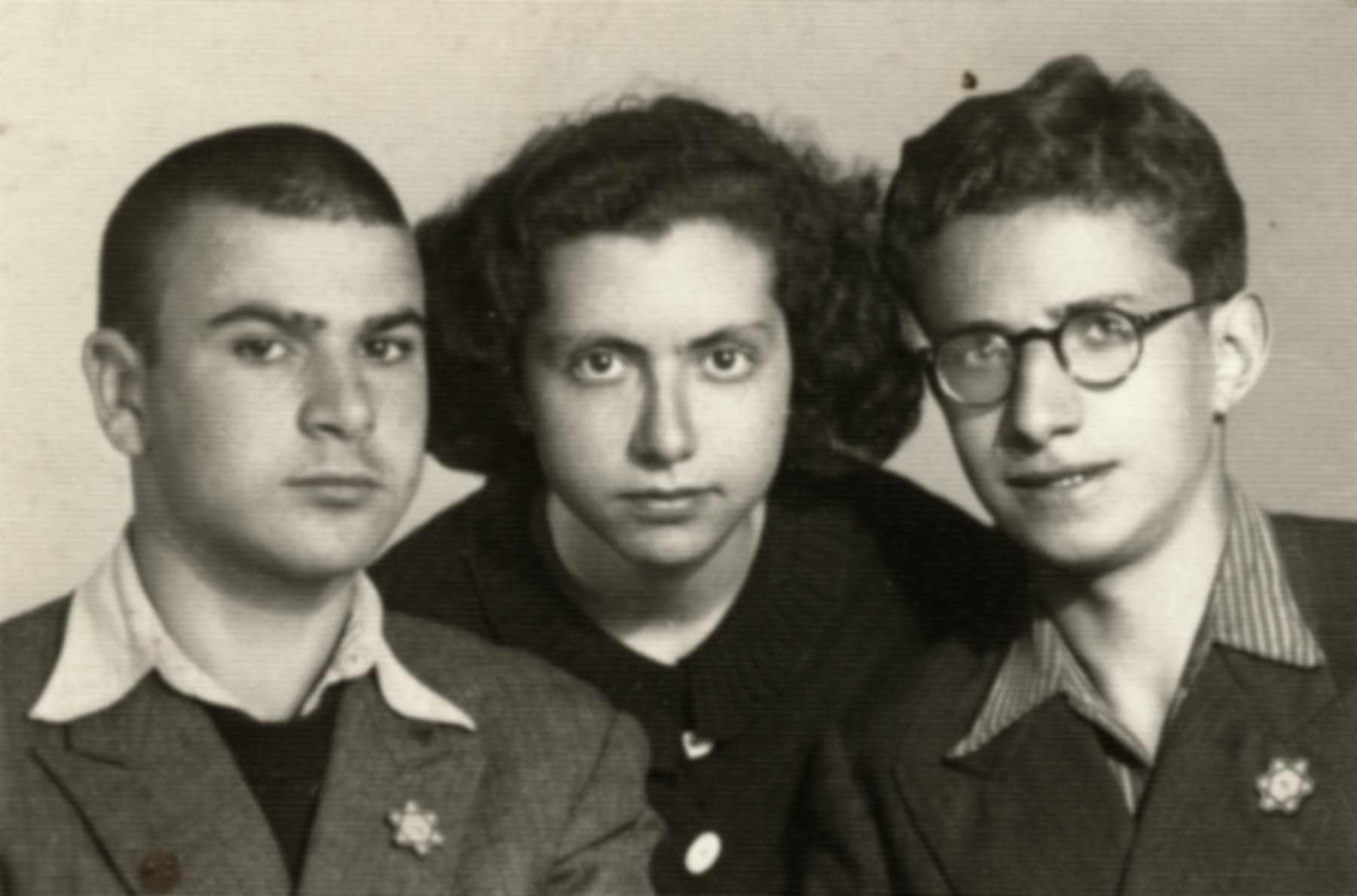 Close-up portrait of Joseph Dekalo, Dora Levy and Marcel Confino shortly before they were expelled from Sofia.