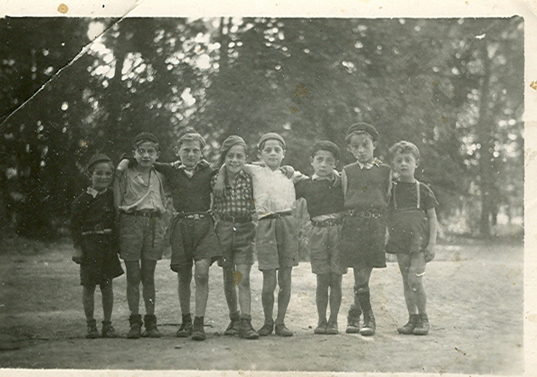 Group portrait of the younger boys in the Versailles children's home.  Rene Goldschmidt is pictured in the center with his friends.