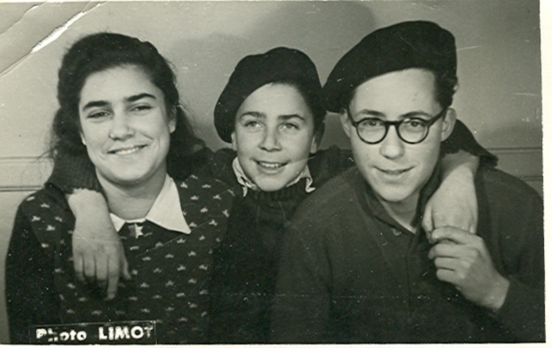 Close-up portrait of Mathilde, Rene and Jules Goldschmidt in the Versailles children's home where their father served as director.