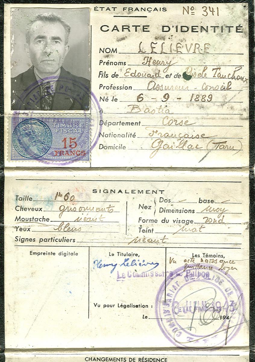 False identification paper issued to Felix Goldschmidt under the name Henry Lelievre.