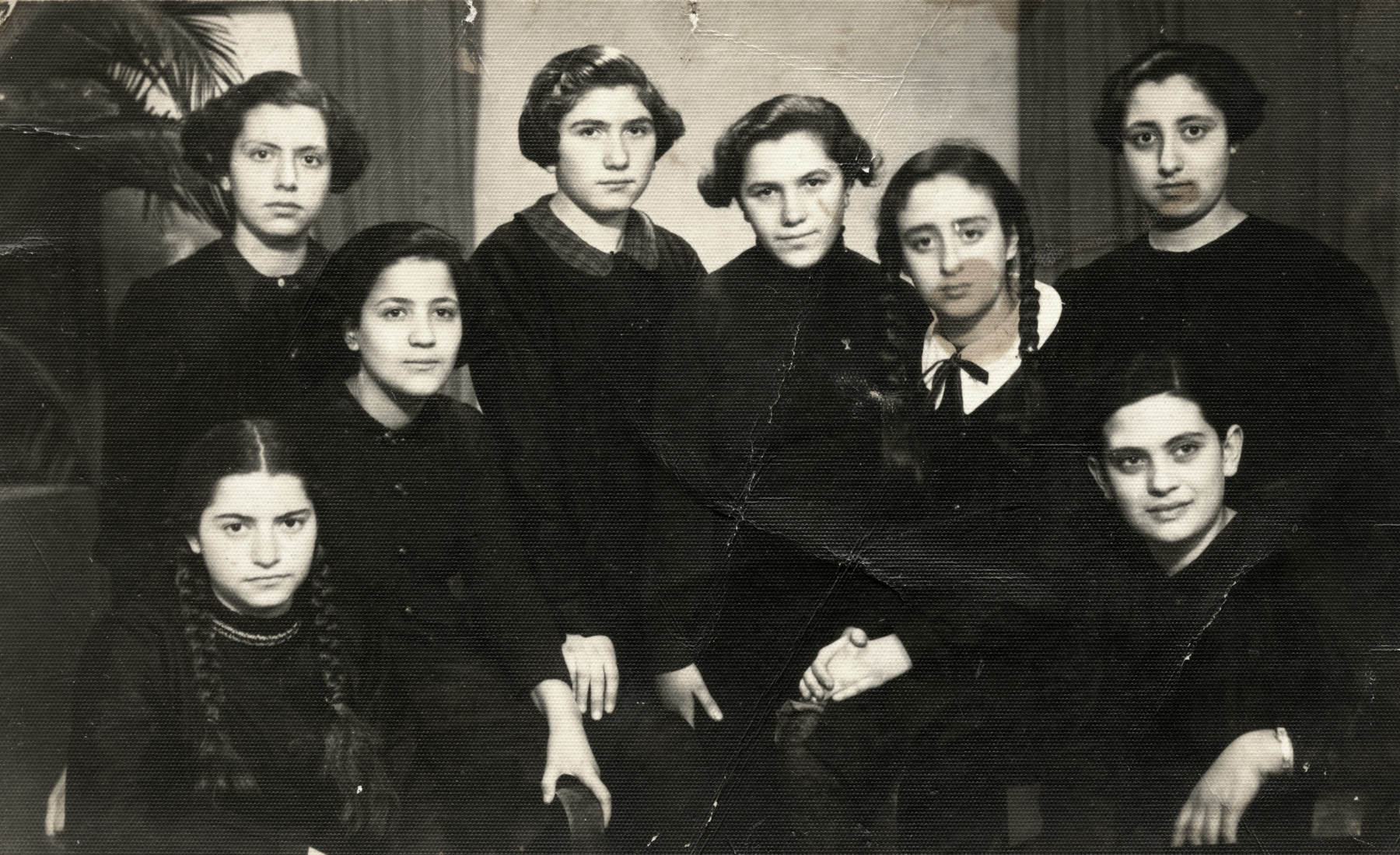 Group portrait of members of Plugat Dror group of the Betar movement in Sofia, Bulgaria.  The counselor, Sarika Levy (later Shulamith Shamir) is third from the left on the top row.  Dora Levy is on the far left, top row.