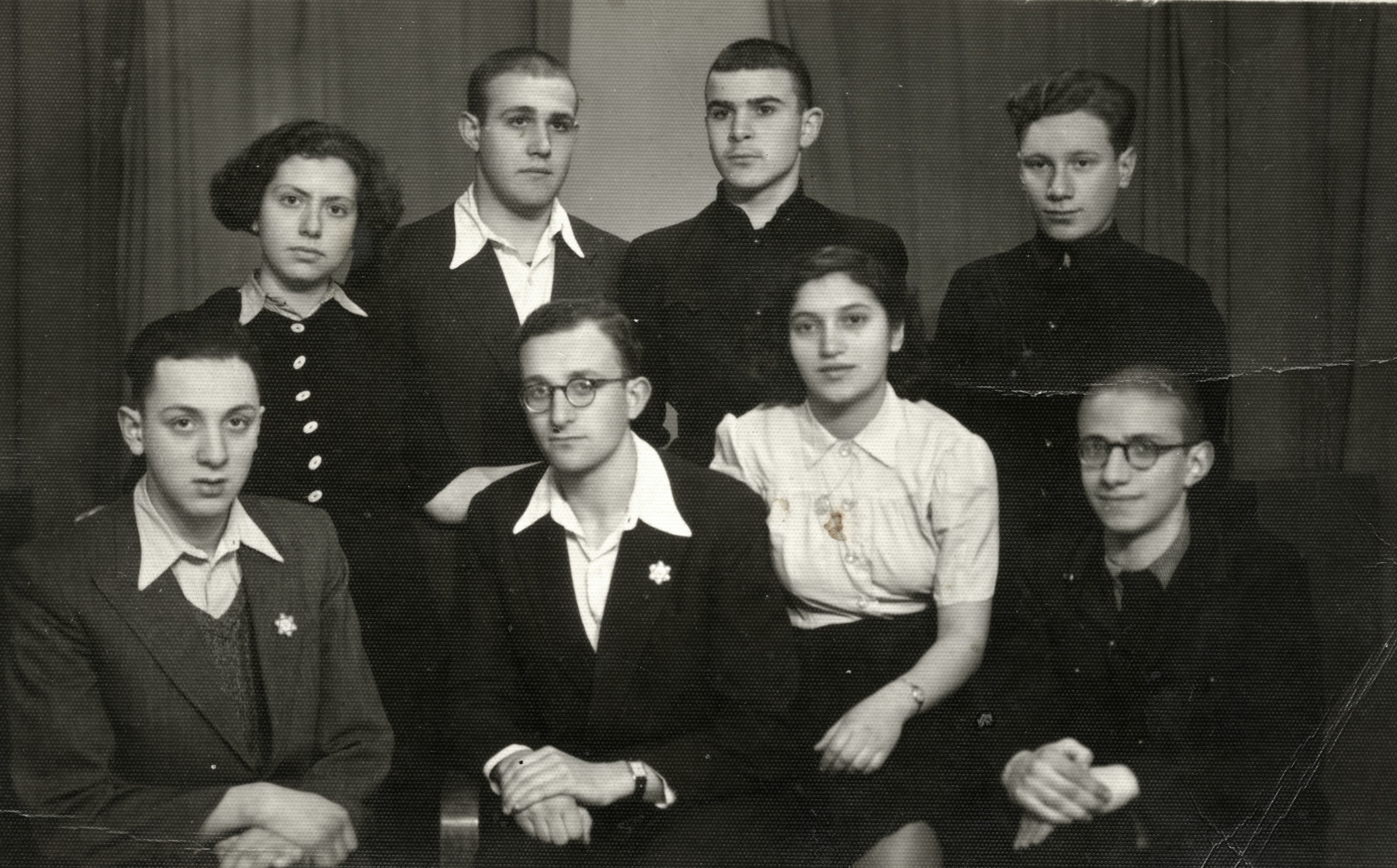 Group portrait of members of the Betar Zionist youth movement in Sofia.  Dora Levy is pictured on the top left.