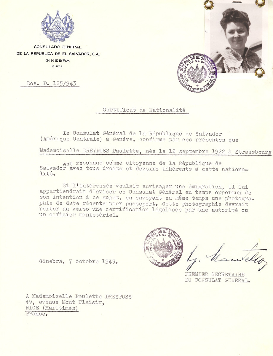 Unauthorized Salvadoran citizenship certificate issued to Paulette Dreyfus (b. September 12, 1922 in Strassbourg) by George Mandel-Mantello, First Secretary of the Salvadoran Consulate in Switzerland, and sent to her residence in Nice.