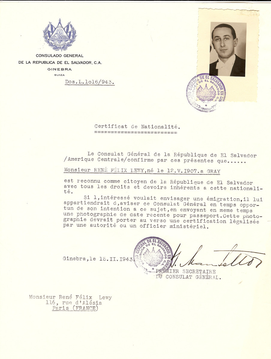 Unauthorized Salvadoran citizenship certificate issued to Rene Felix Lewy (b. May 12, 1907 in Gray) by George Mandel-Mantello, First Secretary of the Salvadoran Consulate in Switzerland, and sent to his residence in Paris.