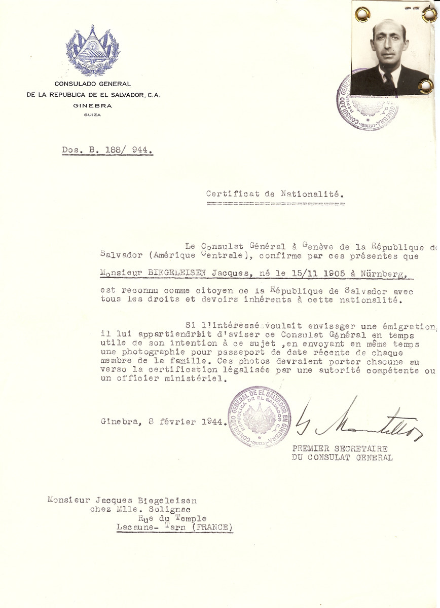Unauthorized Salvadoran citizenship certificate issued to Jacques Biegeleisen (b. November 15, 1905 in Nuremberg), by George Mandel-Mantello, First Secretary of the Salvadoran Consulate in Switzerland and sent to his residence in Lacaune.