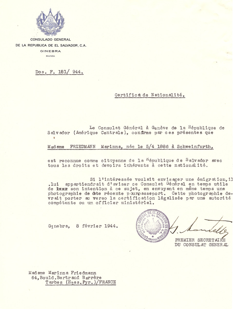 Unauthorized Salvadoran citizenship certificate issued to Marinna Friedman (b. April 5, 1886 in Schweinfurth) by George Mandel-Mantello, First Secretary of the Salvadoran Consulate in Switzerland, and sent to her residence in Tarbes.