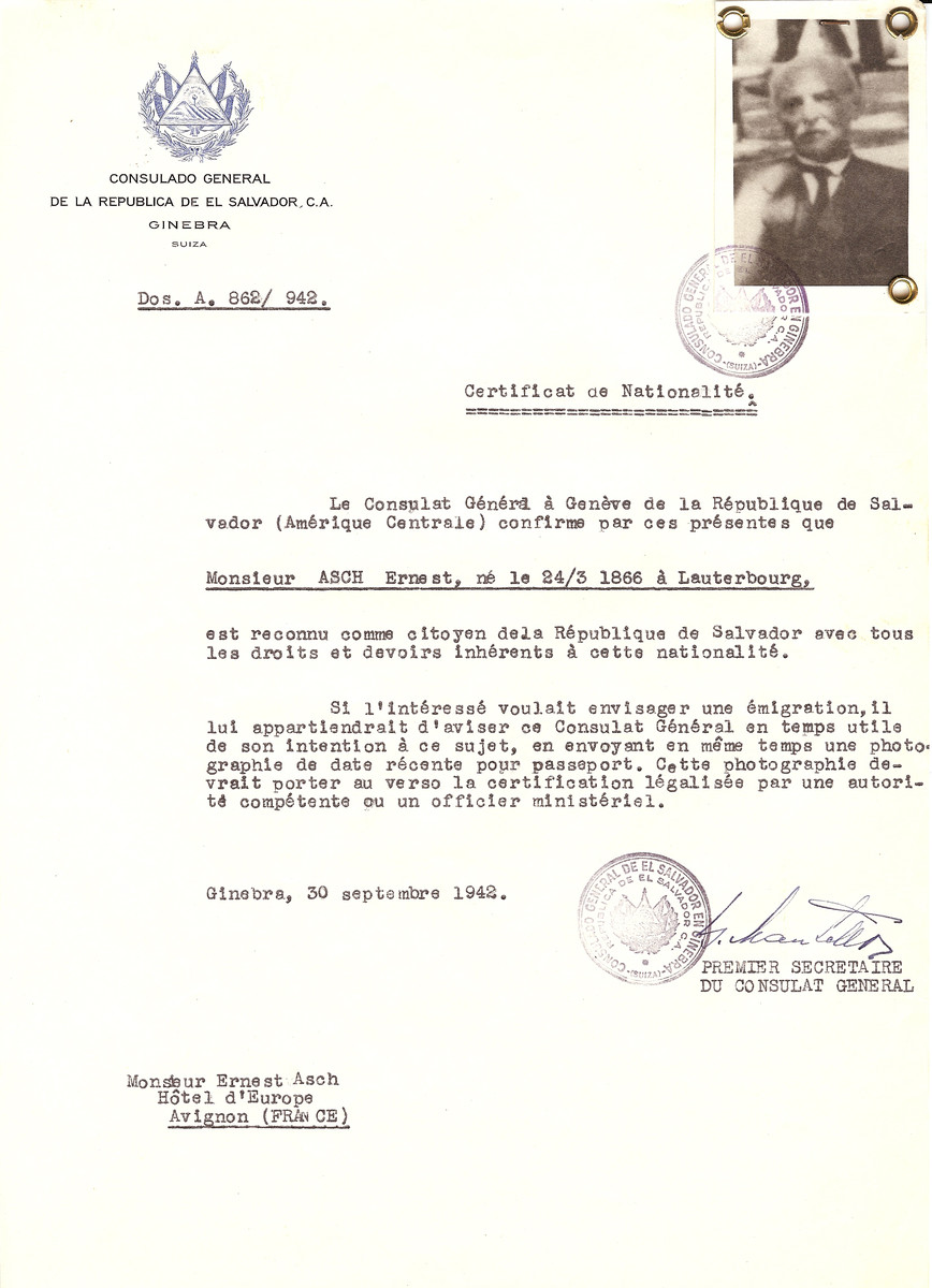 Unauthorized Salvadoran citizenship certificate issued to Ernest Asch (b. March 24, 1866 in Lauterbourg), by George Mandel-Mantello, First Secretary of the Salvadoran Consulate in Switzerland and sent to his residence in Avignon.