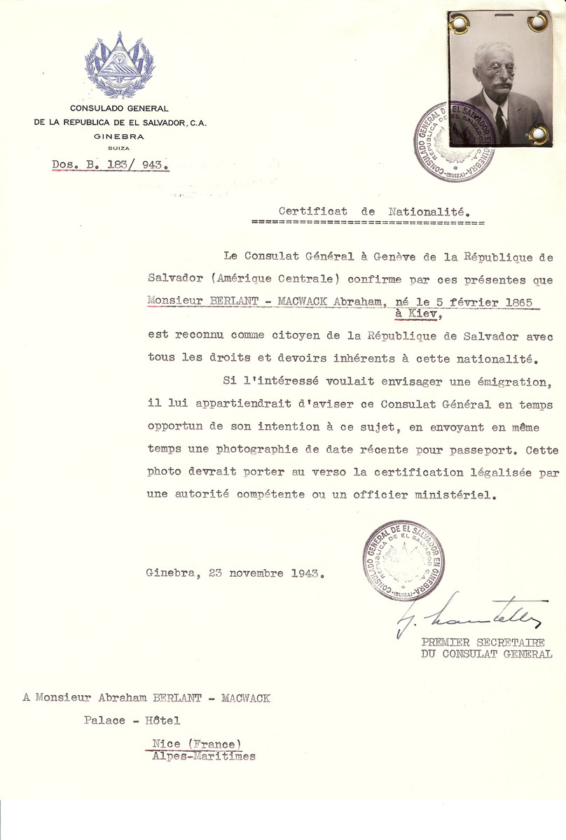 Unauthorized Salvadoran citizenship certificate issued to Abraham Berlant-Macwack (b. February 5, 1865 in Kiev), by George Mandel-Mantello, First Secretary of the Salvadoran Consulate in Switzerland and sent to his residence in Nice.