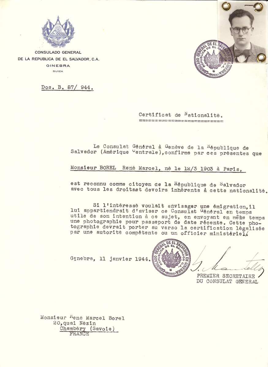 Unauthorized Salvadoran citizenship certificate issued to Rene Marcel Borel (b. March 12, 1903 in Paris), by George Mandel-Mantello, First Secretary of the Salvadoran Consulate in Switzerland and sent to his residence in Chambery.