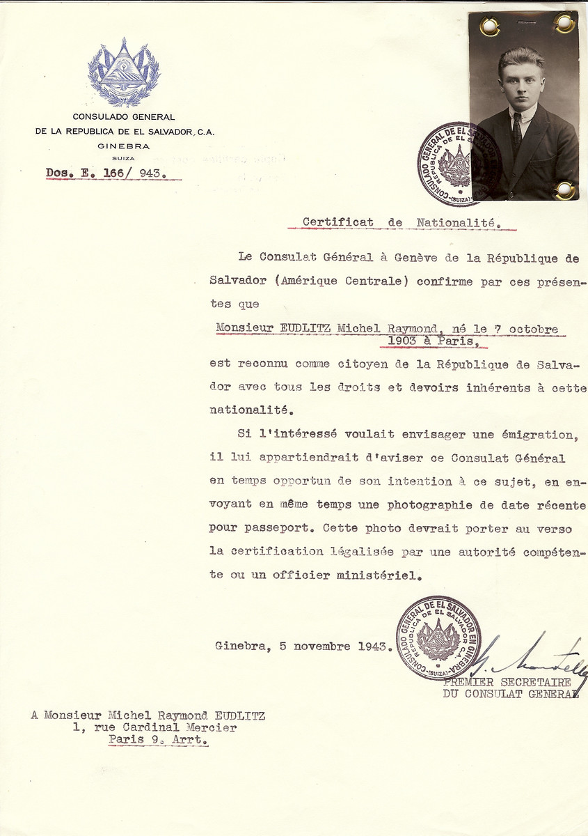 Unauthorized Salvadoran citizenship certificate issued to Michel Raymond Eudlitz (b. October 7, 1903 in Paris) by George Mandel-Mantello, First Secretary of the Salvadoran Consulate in Switzerland, and sent to his residence in Paris.