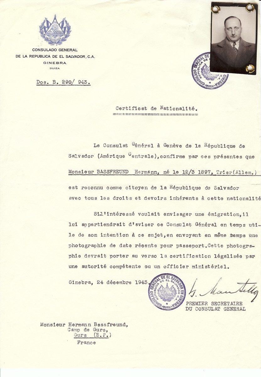 Unauthorized Salvadoran citizenship certificate issued to Hermann Bassfreund (b. March 12, 1897in Trier), by George Mandel-Mantello, First Secretary of the Salvadoran Consulate in Switzerland and sent to him in the Gurs internment camp.